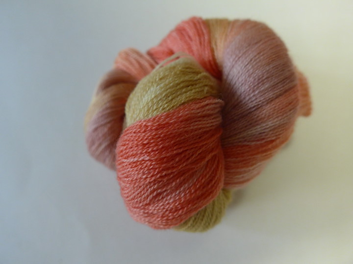 Mohair Wool 2ply Lace, Ruby Grapefruit